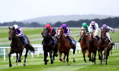 High Definition ridden by Wayne Lordan (left) wins the Irish Stallion Farms EBF Maiden at Curragh Racecourse.