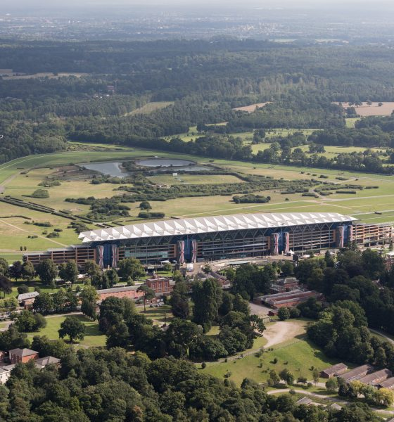 An aerial view of Ascot Racecourse with the main stand prominent