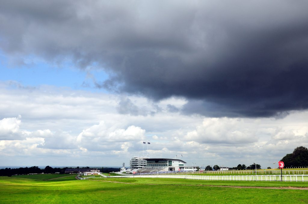 Epsom Downs and racecourse grandstand,Surrey