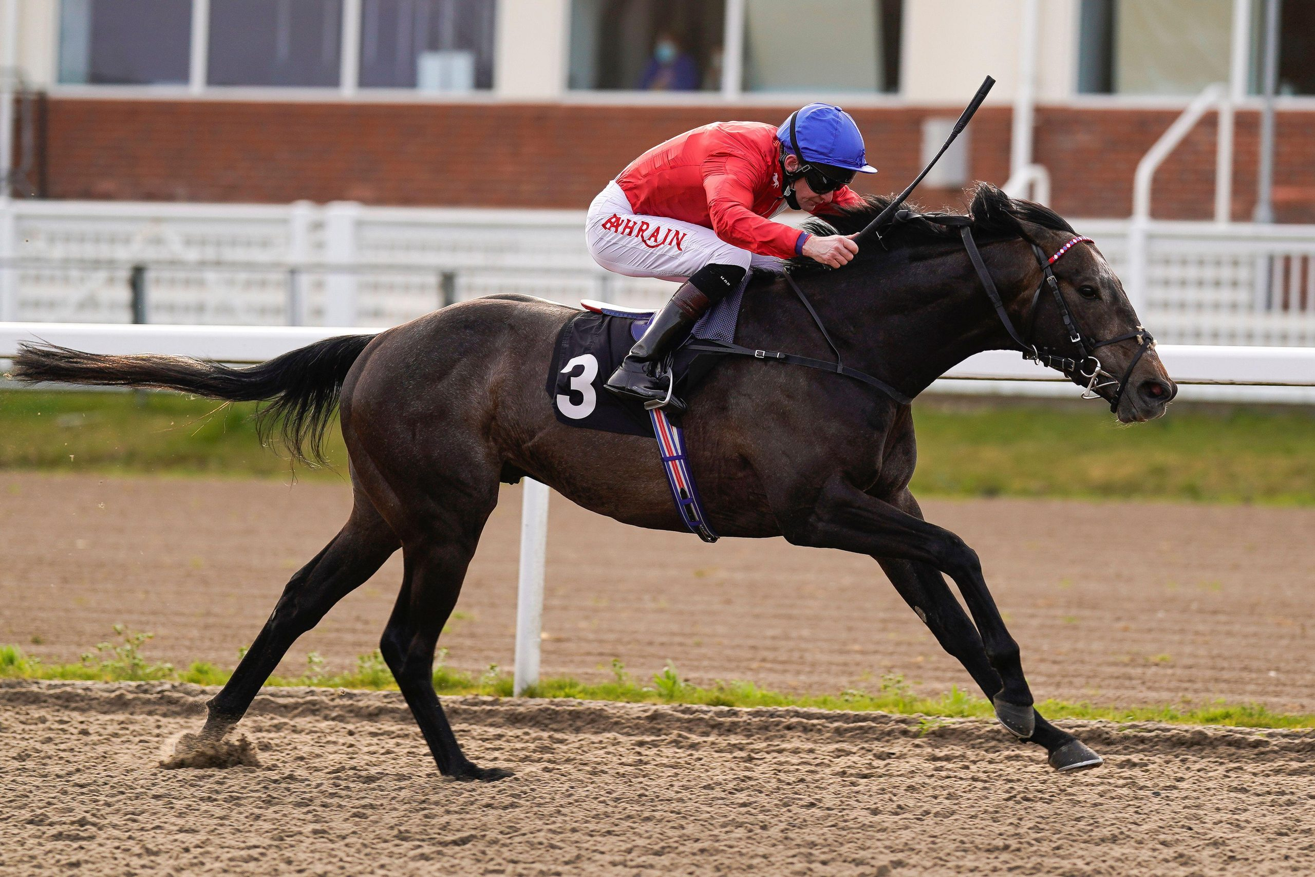 Robert Havlin riding Fundamental winning The Woodford Reserve Cardinal Conditions Stakes at Chelmsford City Racecourse. Picture date: Thursday April 1, 2021.