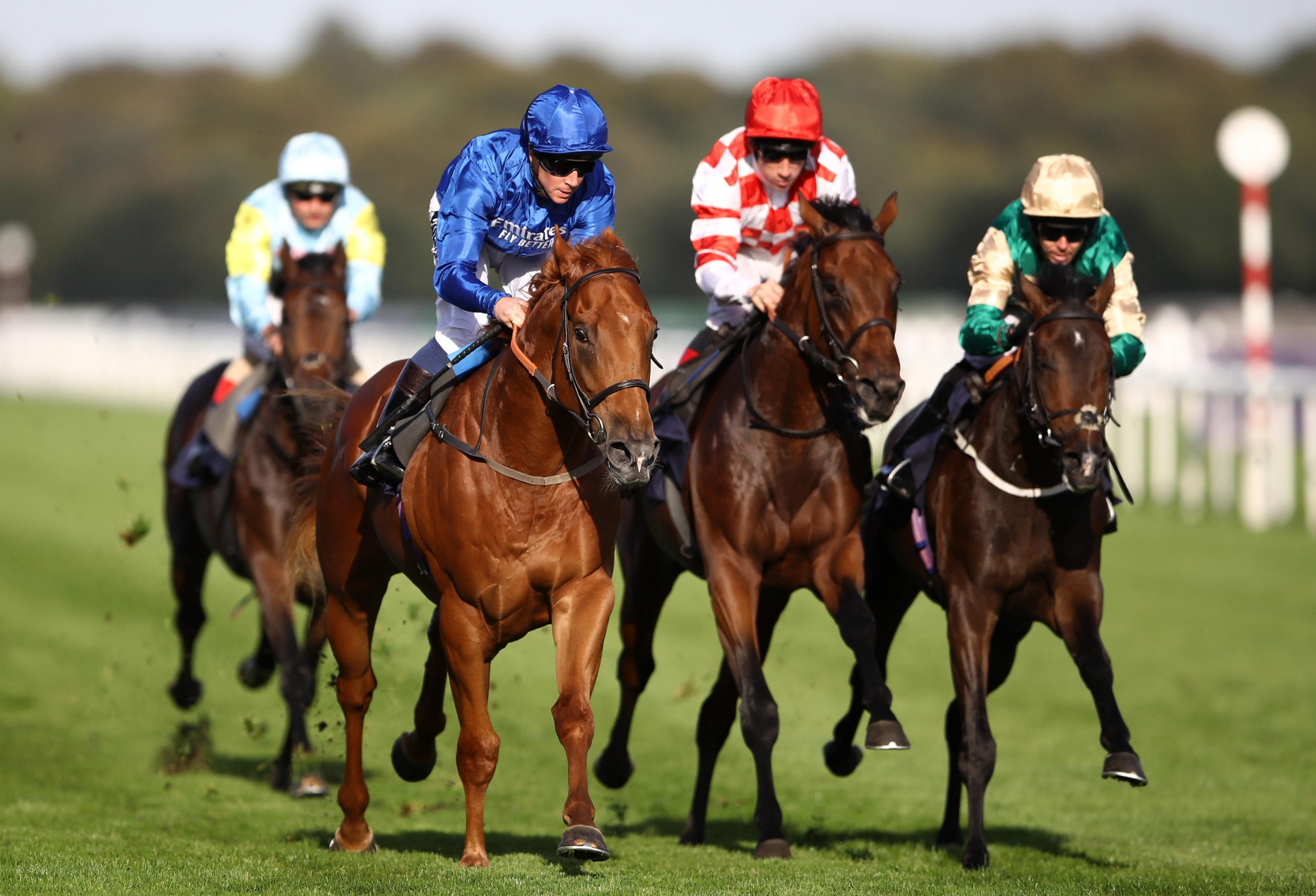 Raaeb ridden by Jim Crowley wins the Gary Reid Memorial Irish EBF Maiden Stakes during day three of the William Hill St Leger Festival at Doncaster Racecourse.