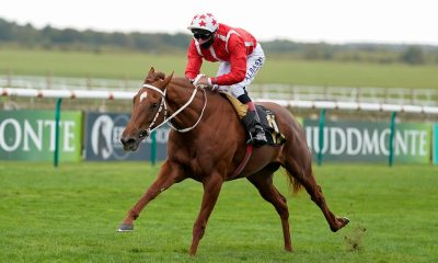 Adam Kirby riding Saffron Beach win The Blandford Bloodstock Maiden Fillies' Stakes during day three of The Cambridgeshire Meeting at Newmarket Racecourse.