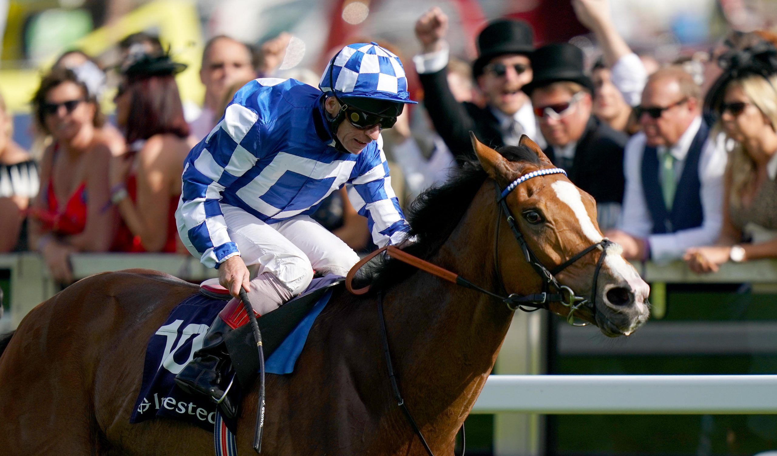 Soto Sizzler ridden by jockey Jimmy Quinn on the way to winning the Investec Out Of The Ordinary Handicap during Derby Day of the 2019 Investec Derby Festival at Epsom Racecourse, Epsom.