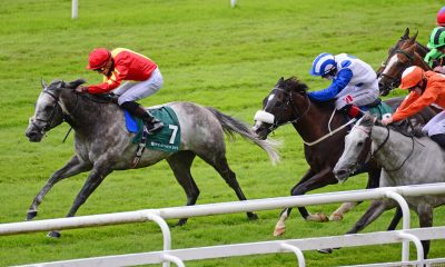 2C4PHT3 Speak in Colours and Shane Crosse (left) win the Weatherbys Ireland Greenlands Stakes at Curragh Racecourse.
