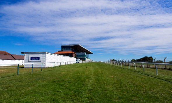 E46Y8B Brighton Racecourse on the South Downs above the city of Brighton and Hove