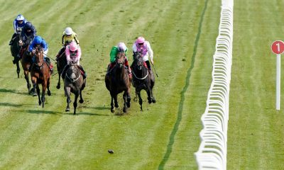 2F9PREK William Buick riding Wirko (left, blue) win The Blue Riband Trial at Epsom Downs Racecourse, Surrey. Picture date: Tuesday April 20, 2020.