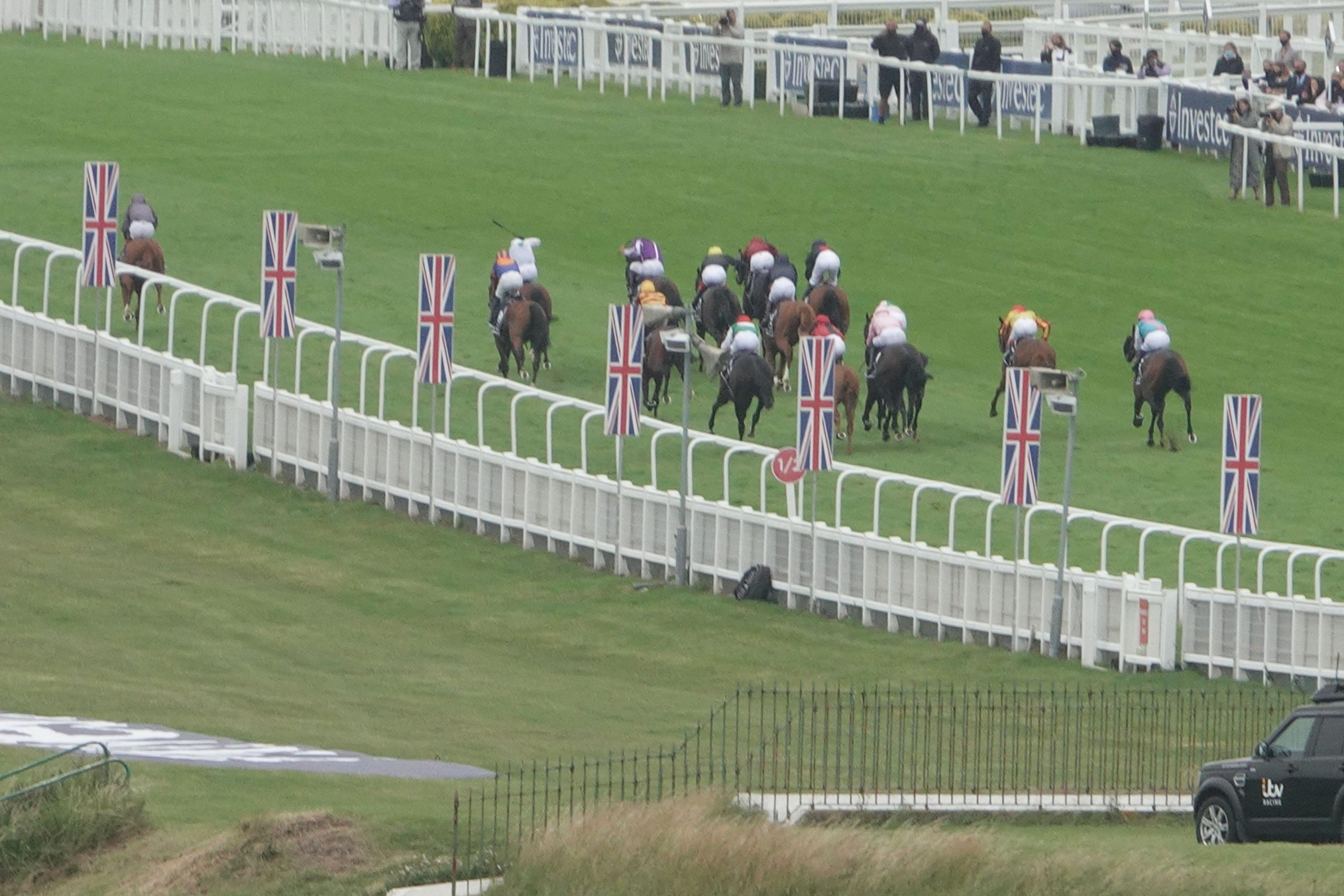 2C5P5XC Epsom, Surrey, UK. 4th July, 2020. Action, behind closed doors-due to the Covid-19 restrictions- at The Derby as the bulk of the field chase winner, Serpentine with an 8 length lead up hill to the finish Credit: Motofoto/Alamy Live News