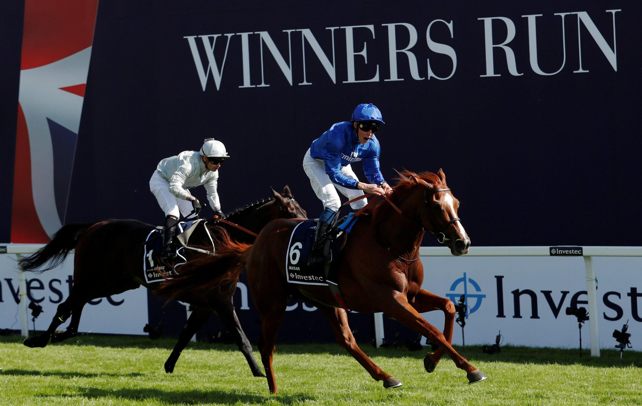 2EHFW11 Horse Racing - Derby Festival - Epsom Downs Racecourse, Epsom, Britain - June 2, 2018 Masar ridden by William Buick wins the 4.30 Investec Derby Action Images via Reuters/Andrew Boyers