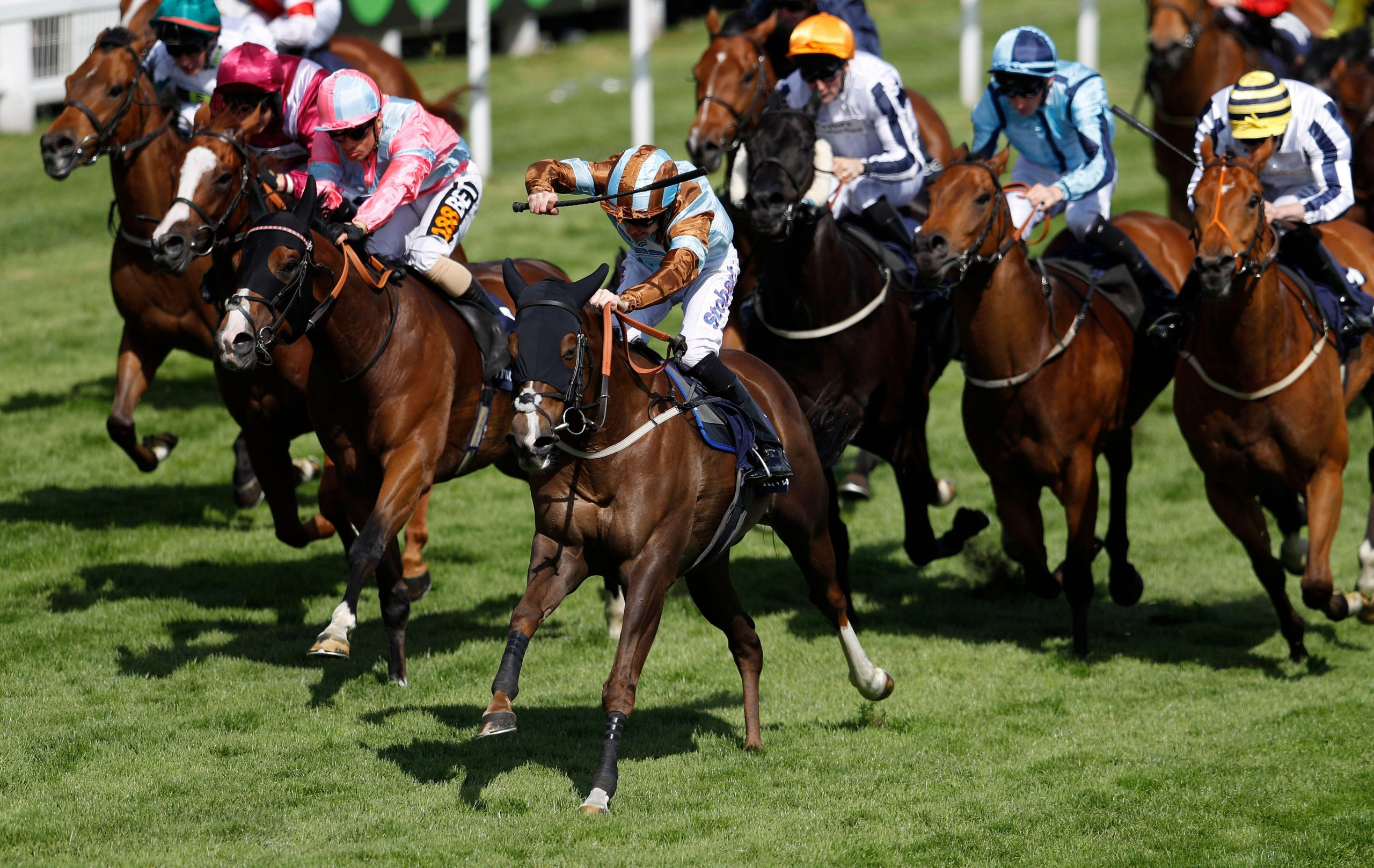 2EGCPND Britain Horse Racing - Derby Festival - Epsom Racecourse - June 3, 2017 Tom Eaves on Caspian Prince wins the 3:45 Investec Corporate Banking ?Dash? Handicap Reuters / Peter Nicholls Livepic EDITORIAL USE ONLY.