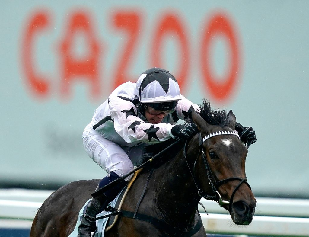 Oscula ridden by jockey Mark Crehan wins The Cazoo Woodcote EBF Stakes during day one of the Cazoo Derby Festival at Epsom Racecourse. Picture date: Friday June 4, 2021.